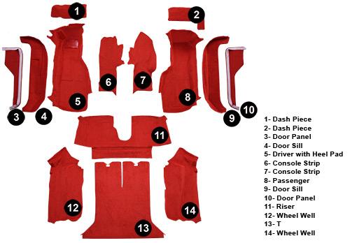1989 C4 Corvette Carpet Set Complete Coupe